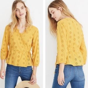NWT Madewell Scalloped Eyelet Wrap Top Blouse